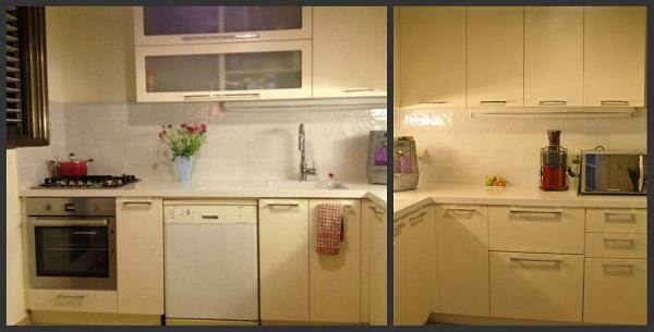 המטבח אחרי - קווים נקיים ומודרניים. מטבח בהיר עם משטחי עבודה נוחים. עיצוב שגרתי שמטרתו לפנות לחלק המיינסטרימי של האוכלוסיה.