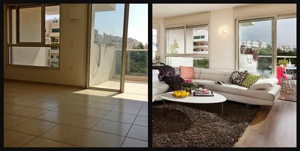 הסלון לפני ואחרי